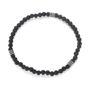 Men's Beaded Bracelet with Lava Stone and Stainless Steel