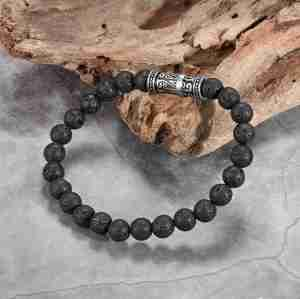 Men's Beaded Bracelets with Lava Stone