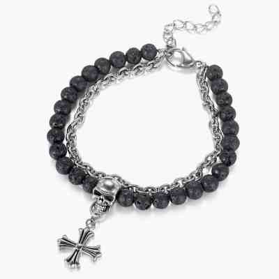 Men's Layered Beaded Bracelets with Cross and Skull Accessories