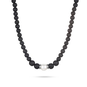 Men's Beaded Necklace with Lava Stone and Shell Pearl