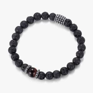 Men's Beaded Bracelet with Lava Stone