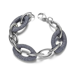 Blue Gray Mineral Dust Stainless Steel Chain Bracelet