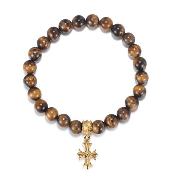 Men's Lily Cross Beaded Bracelet