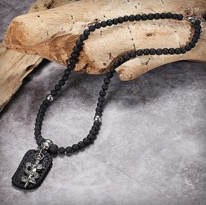 Men's Beaded Necklace with Pendant