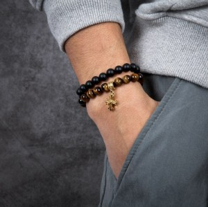 Men's Lily Cross Beaded Bracelet