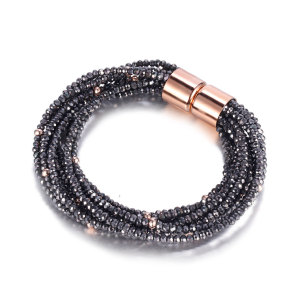 Dark Gray Glass Beads Bracelet
