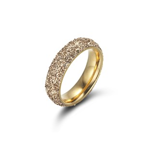 Steel Gold Plated Glitter Ring