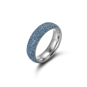 Steel Silver Blue Ring