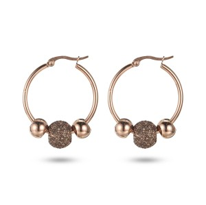 Brown Rose Gold Hoop Earrings