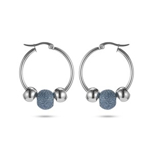 Blue Silver Hoop Earrings