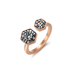 Hexagon CZ Ring