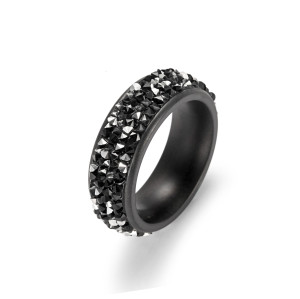 Black CZ Band Rings