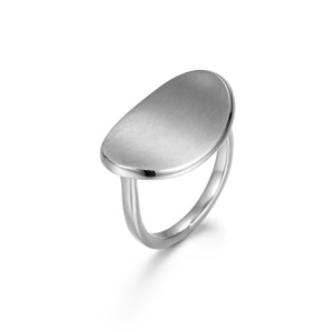 Silver Matt Curved Women Rings