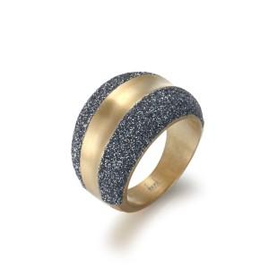 Blue-gray Gold Matt Ring