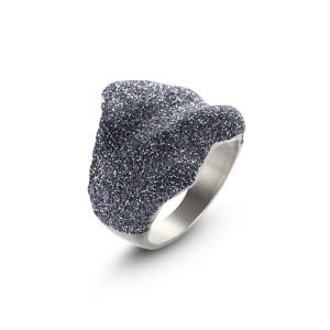 Blue-gray Silver Wavy Ring