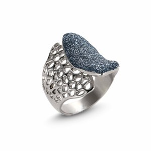 Blue Silver Mesh Ring
