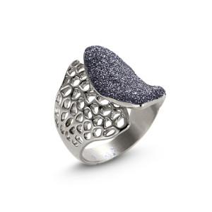 Blue-gray Silver Mesh Ring