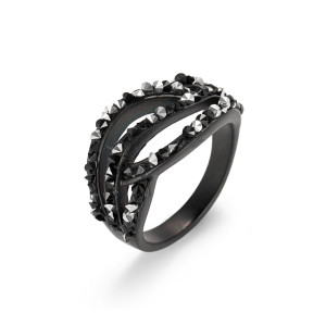 Black CZ Line Ring