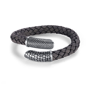 Gray Woven Leather Bracelet
