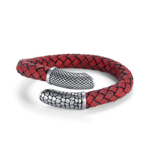 Red Woven Leather Bracelet