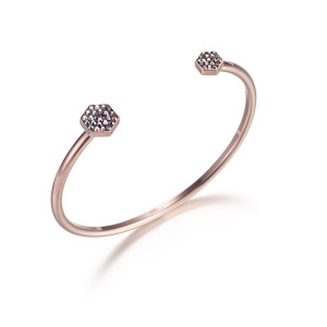 Hexagon CZ Bangle Bracelet