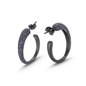 Matt Black Hoop Earrings