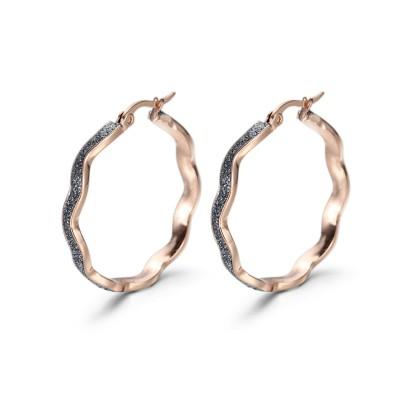 Blue-Gray Twist Hoop Earrings
