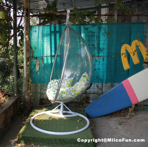 MiicoFun Transparent Garden Hanging Chair with Metal Stand-MF-HC-01