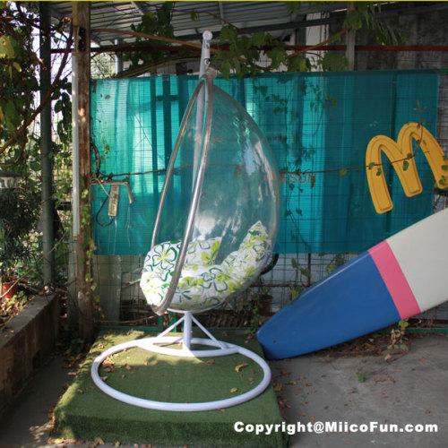 MiicoFun Transparent Garden Hanging Chair with Metal Stand-MF-HC-01