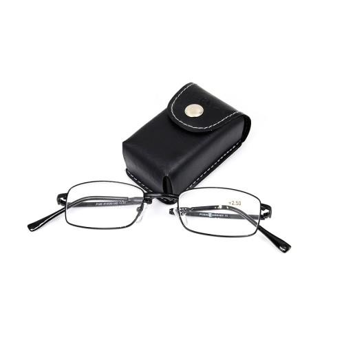 Venta al por mayor venta caliente de alta calidad pequeña cartera de metal plegable gafas de lectura con caja de embalaje