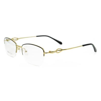 Оптовая Высокое качество полукадра очки мода металл Золото Оптические очки Рамка для дам