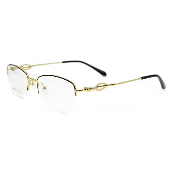 Wholesale Top quality half frame eyewear fashion metal Gold Optical glasses Frame for ladies