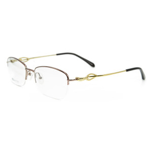 Marco de calidad superior al por mayor de los vidrios ópticos del oro del metal de la moda de las gafas del medio marco para las señoras