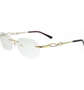 الجملة تصميم الأزياء نموذج جديد بدون شفة نظارات معدنية الذهب النظارات البصرية الإطار للمرأة