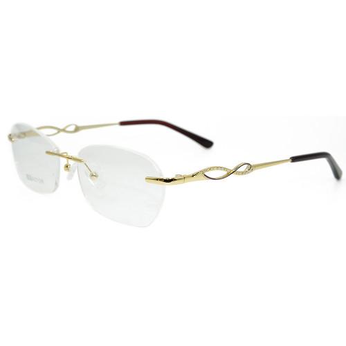 Marco al por mayor de los vidrios ópticos del oro del metal de las gafas sin montura del diseño de la moda del nuevo modelo para las mujeres