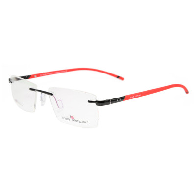 رواج تصميم جديد جودة دائمة بدون شفة نظارات معدنية مربع النظارات البصرية إطارات للرجال