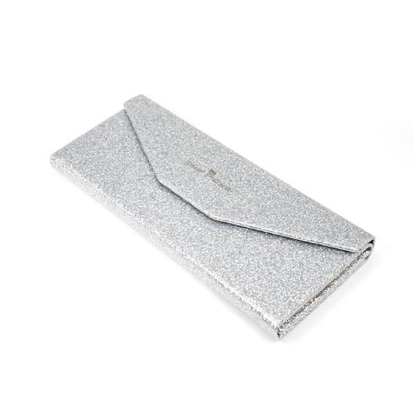 Wholesale New Fashion design Easy to carry and Folding Silver Cardboard Eye Glasses Case
