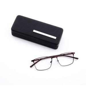 Caja de caja de caso de gafas de sol de hierro PU gafas de sol de material de dibujo de alto grado de fábrica de alto grado personalizado
