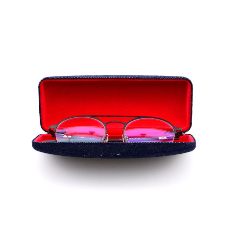 Nuevo estilo Fábrica Calidad personalizada Diseño de moda Metal denim Ojo Gafas ópticas Caja Caja