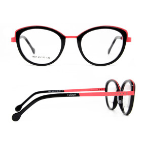الصين مصنع جديد مخصص جولة القط النظارات خلات إطارات النظارات البصرية المعدنية للأطفال