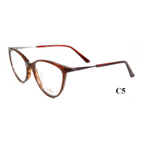 El último modelo de venta caliente vogue cat anteojos finos Acetato metal diamante marcos ópticos para mujeres