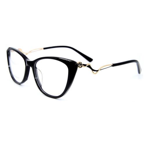 Marcos al por mayor de las gafas del acetato de las gafas de la moda de la decoración del diamante del metal para las mujeres