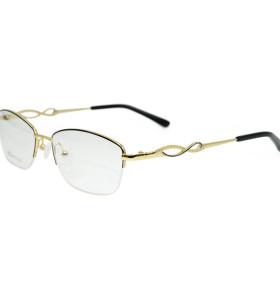أعلى بيع الأزياء نمط جديد الماس halfrim النظارات إطارات النظارات البصرية إطار معدني للمرأة