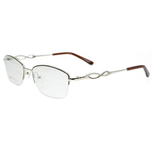 Marco de gafas ópticas de metal de estilo de moda de venta superior nuevo diamante halfrim marcos de gafas para mujer