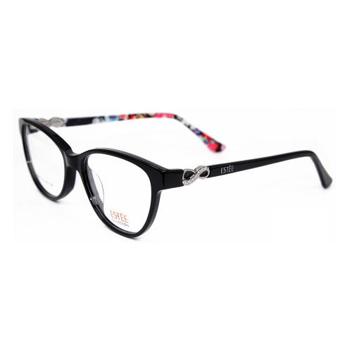 Ready stock nueva fábrica de gafas de montura de lujo personalizadas gafas ópticas de acetato con Rhinestone Mujer