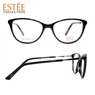 Top sale best quality cat eyeglasses acetate metal optical eyewear frames with diamond women