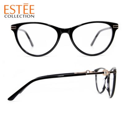 Las nuevas gafas de estilo de lujo de moda de la llegada montan anteojos ópticos de diamante de acetato para damas