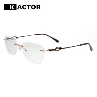 Wholesale new stock fashion design diamond spectacles metal rimless optical eyeglasses frames