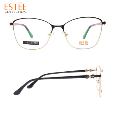 Most popular Luxury diamond spectacle frames metal acetate fashion optical eyeglasses Ladies