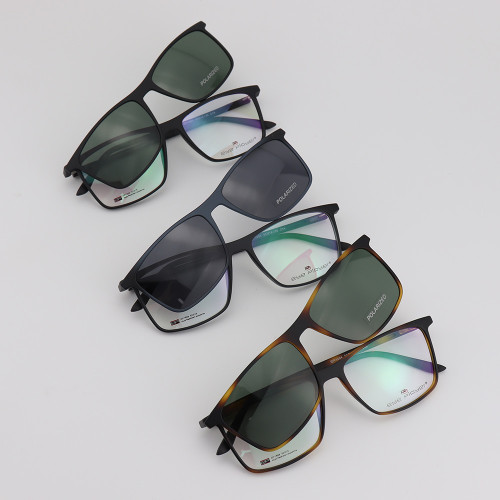 Suministro de fábrica de China Gafas de sol de moda de nueva moda Clip magnético TR90 en gafas de sol con lente polarizada